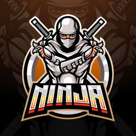 White ninja esport logo mascot design Logo