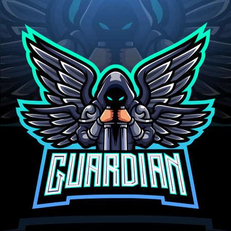 Guardian angel esport logo mascot design.