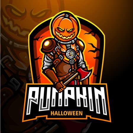 Pumpkin helloween esport logo mascot design