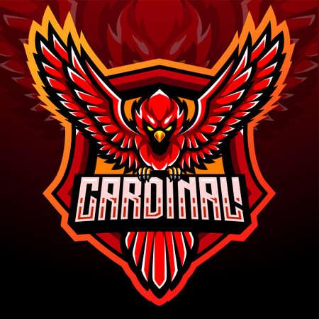 Cardinal bird mascot. esport logo design