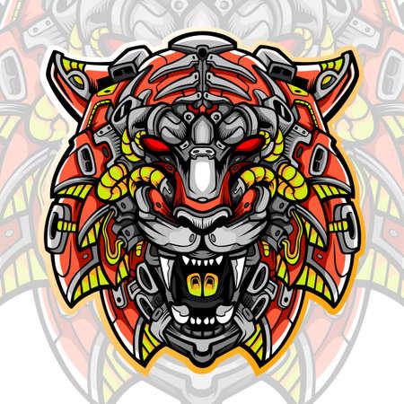Tiger head mascot. esport logo design