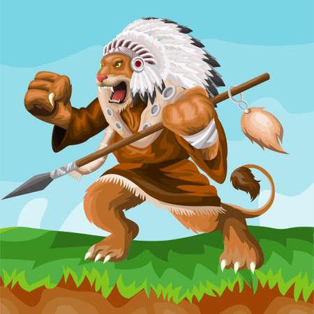 Lion indian cartoon mascot. esport logo design Logos