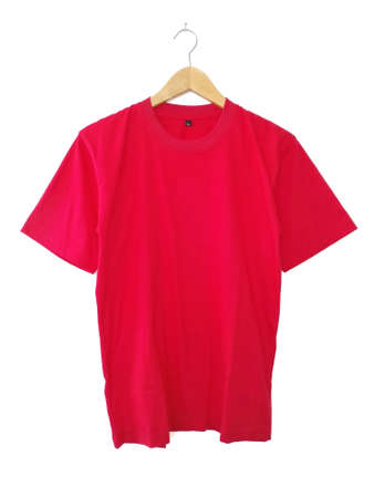 Red T Shirt on Hanger with White Backgorund Stock fotó