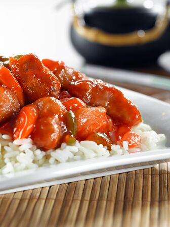 sweet and sour pork on rice Stock Photo - 9833714