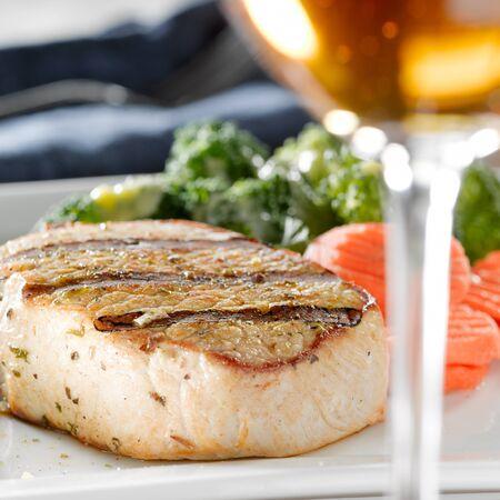 Pork loin filet dinner with wine