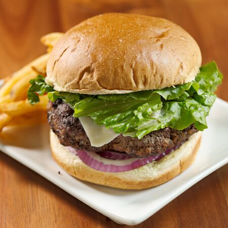 burger on bun: gourmet cheeseburger and fries Stock Photo