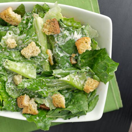 caesar salad: Caesar salad top down view Stock Photo