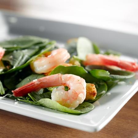 fine dining: shrimp spinach salad