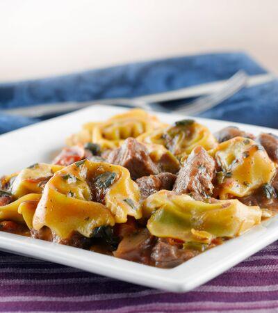 fine cuisine: braised beef and portobello tortelloni