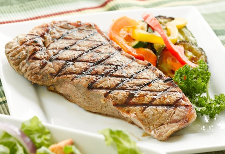 charbroiled: grilled steak with veggies Stock Photo