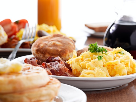 biscuits: huge breakfast with scrambled eggs