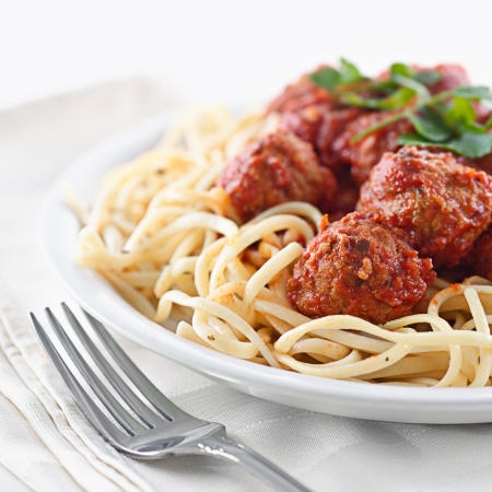 spaghetti dinner: spaghetti and meatballs Stock Photo