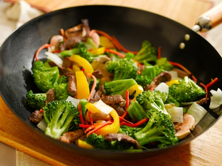 wok stir fry Stock Photo