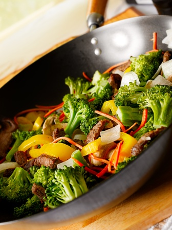 cooking oil: beef wok stir fry with veggies Stock Photo