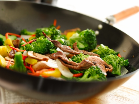 chinese food: wok stir fry Stock Photo