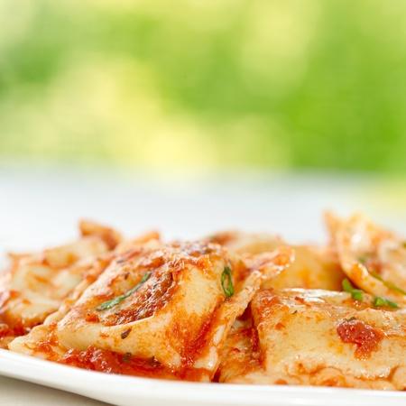 sauce bowl: ravioli closeup