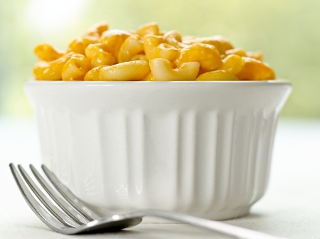 tallarin: macarrones con queso de primer plano Foto de archivo