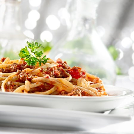 pasta with tomato sauce and meat