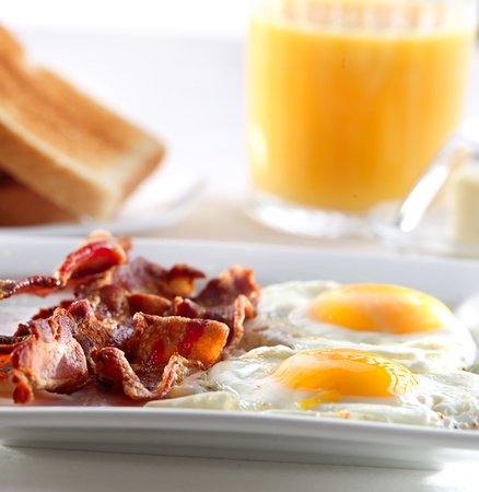 sunny side up: bacon, eggs and toast breakfast