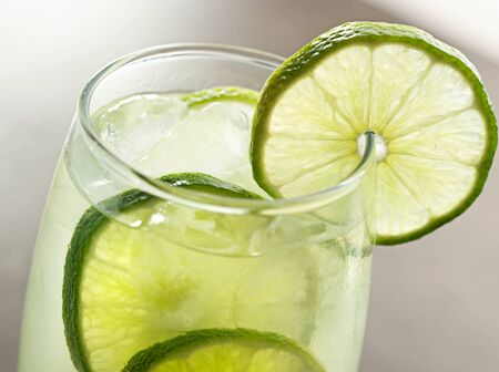 lime juice: lime drink with ice closeup