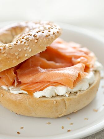 bagel: bagel and lox and cream cheese