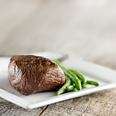 steak with green beans and copyspace Stock Photo - 12925165