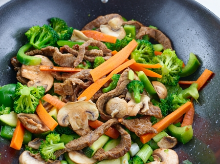 stir fry: overhead view of colorful stirfry