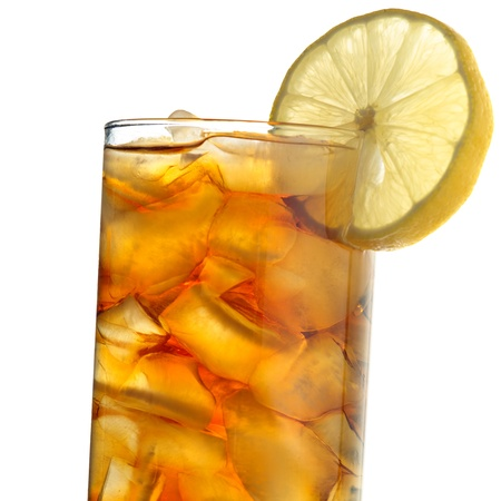 iced tea isolated on white closeup photo