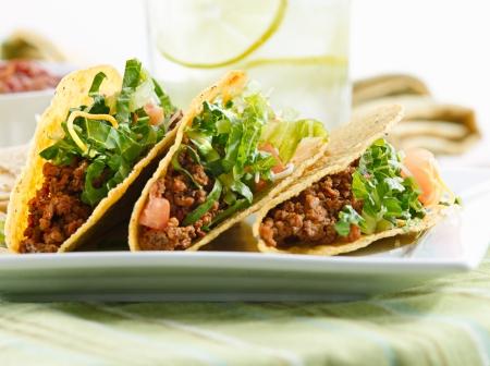 a platter of three tacos Reklamní fotografie