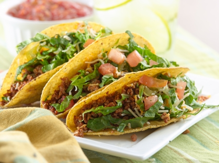 tacos: beef taco meal Stock Photo