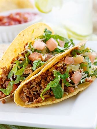 tex: Beef tacos with lettuce cheese and tomato Stock Photo