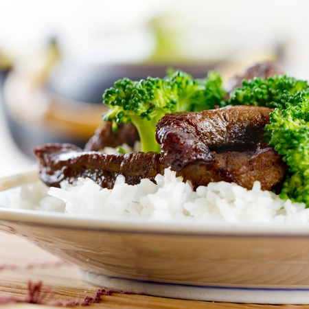 chinese beef and broccoli on rice photo