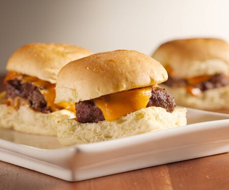 sliders: mini burger sliders shot with selective focus