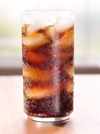 cooled: cold glass of soda with ice