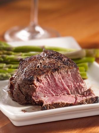 a rare: tenderloin steak cut open cooked rare Stock Photo