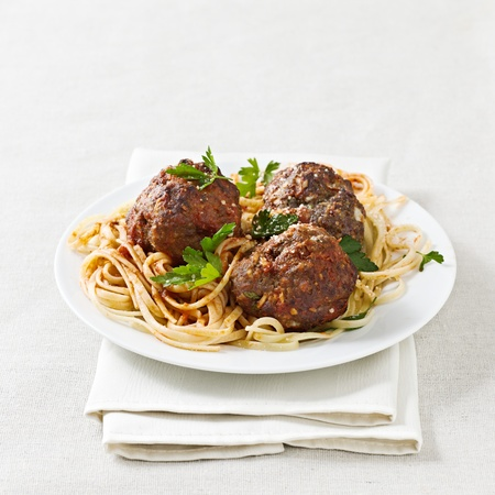 spaghetti and meatballs with copyspace composition. Stock Photo - 12925107