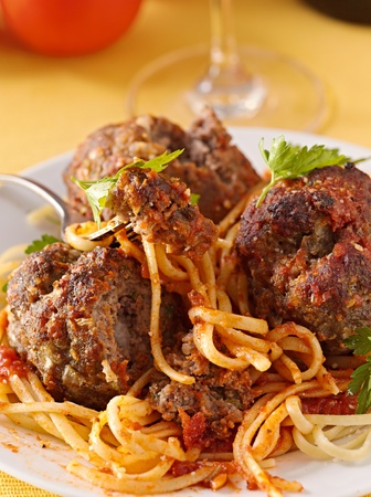 spaghetti and meatball dinner Stock Photo - 12925097