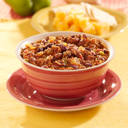 red chili: bowl of chili with beans and beef