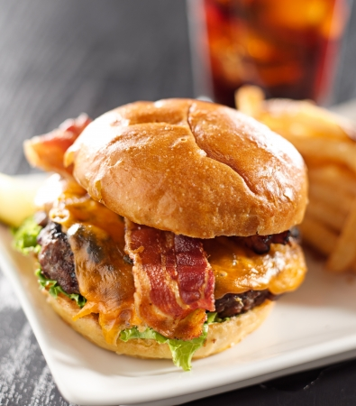 juicy: Bacon cheeseburger shot with selective focus Stock Photo
