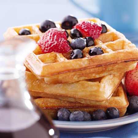 blueberry waffles with strawberries photo