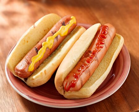 two hotdogs on a plate with ketchup and mustard. photo
