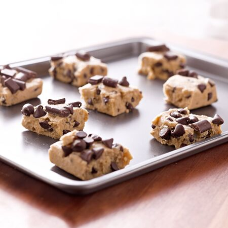 doughy: uncooked cookie dough on a baking pan