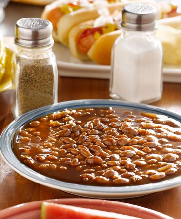 meal wiith baked beans Stock Photo