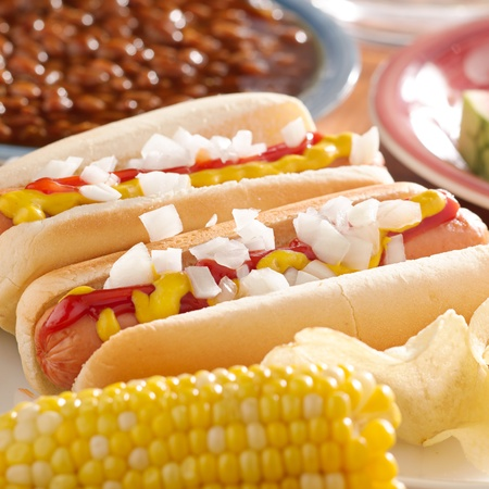 hot dogs: meal with hotsdogs with toppings