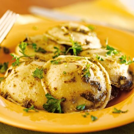Ravioli pasta with basil pesto