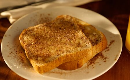 cinnamon sugar toast shot with selective focus. photo