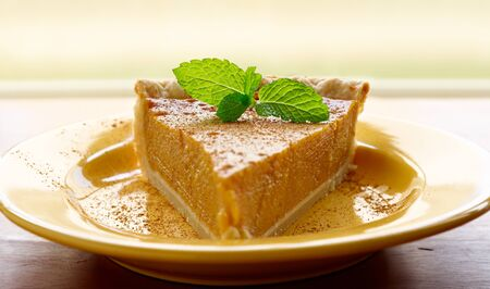 pumpkin pie with mint garnish and copyspace photo