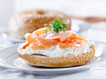 bagel: bagels & lox and sprig of dill