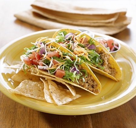 Tacos on a platter with tortillas - mexican food Stock Photo - 14940644