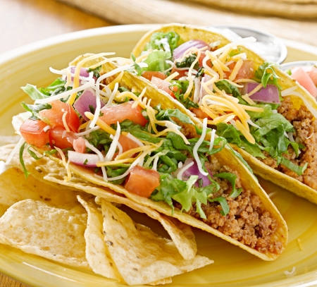 tortillas: Tacos on a platter with tortillas - mexican food